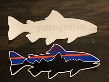 cef50390 Patagonia Fitz Roy Trout & Vintage White Trout Stickers Qty 2