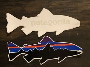 Patagonia Fitz Roy Trout & Vintage White Trout Stickers Qty 2