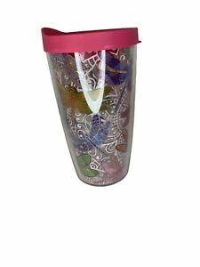 Tervis Dragonfly Mandala Tumbler with Fuchsia Lid 16oz Clear Insulated
