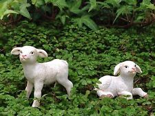 Miniature Dollhouse FAIRY GARDEN ~ Country Farm Sheep Lambs w Pick ~ Set of 2