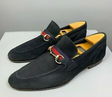GUCCI Horsebit Web Stripe Loafers Shoes Size 43 E Men's Navy Blue Suede Leather