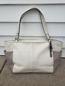 COACH Factory Carrie Tote Block Ivory and Beige