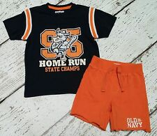 OLD NAVY Boys Navy Blue Home Run Tee and Orange Shorts 18 24 2T EUC