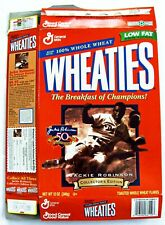 JACKIE ROBINSON BROOKLY DODGERS 1997 WHEATIES BOX 12 OZ FLAT EMPTY VG