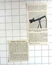 1961 Miniature TV Camera , 1 Inch Vidicon Tube For Closed Circuit TV, EMI