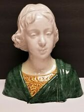 Antique Angelo Minghetti Italian Majolica Bust of Young Lady Woman C. 1890's