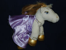 "14"" Build-a-Bear plush White & Gold PONY w/Purple Princess Dress"