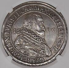 Austria Hall 1616 Maximilian Silver Thaler NGC AU58