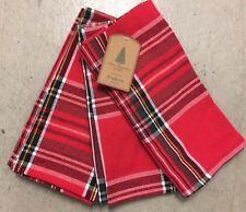 Well Dressed Home Christmas Red Black Tartan Plaid Cloth Napkins Set 4 Holi
