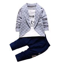 2PCS Kids Baby Boys Gentleman Shirt Tops+Long Pants Formal Party Clothes Set UK