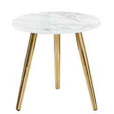 White Marble LOOK Round Coffee Side Table Lamp Nightstand Chrome Golden Leg