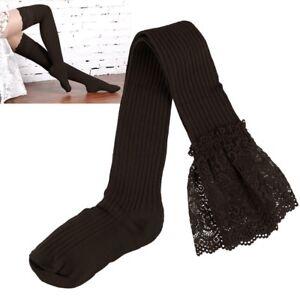 Women Girl Thigh High Stripe Lace up Stockings Hosiery Pantyhose Tights Socks