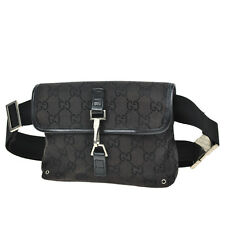 tm355 Authentic GUCCI GG Pattern Bum Bag Waist Pouch Vintage Old Leather Black
