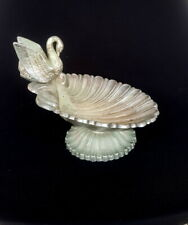 Vintage Silver Plated Shell Dish Bowl Jewelry Tray Footed with Swan Duck Seated