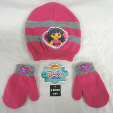 NICKELODEON DORA & FRIENDS, 2-PIECE GIRLS SOCK HAT & MITTEN SET, SIZE 2T-5T, NEW