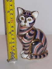 "ESTATE 5"" ROYAL CROWN DERBY IMARI CAT GOLD TRIM & STOPPER PAPERWEIGHT BONE CHINA"