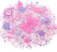 Pink & Purple Sparkle Cabochon Rhinestone Pearl Set Kit DIY Deco Kawaii Craft UK