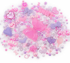 Pink & Purple Sparkle Cabochon Rhinestone Pearl Set Kit DIY Decoden Kawaii Craft