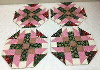 Four Patchwork Quilt Table Toppers, Eight Sided, Floral Prints, Green, Pink