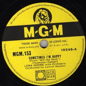 RARE LENA HORNE 78 SOMETIMES I'M HAPPY  UK MGM 153 EX+