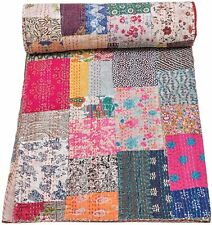 Queen Patchwork Kantha Quilt Indian Vintage Reversible Throw Handmade Blanket