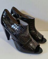 Pour la victoire 8.5 womens patent black croc embossed leather booties open toe