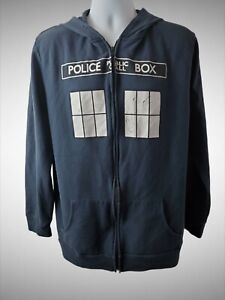 Doctor Who Men's XL POLICE BOX Blue Graphic Hoodie