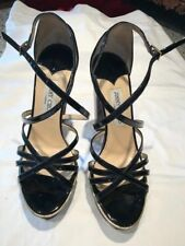 Jimmy Choo Wood and Lucite Black Patent Leather Ladies Sandals Size 39 or USA 9