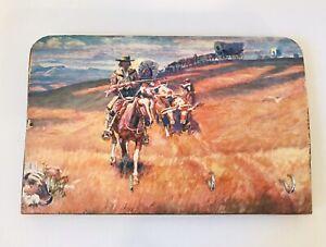 "Wooden Wall Key Holder Western Scene Horses Bulls Wild West 4 Hooks 10.5 X 7"""