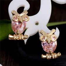 Lovely Appealing Owl 18k Gold Filled cubic zirconia Women's Stud Earrings