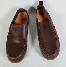Crocs Harborline Mens Brown Leather Deck Boat Superfeet Loafer Slip on Shoe 13