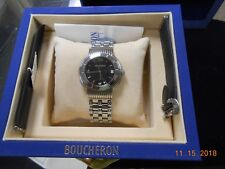 Awesome! BOUCHERON Solis Black dial Stainless Quartz Men's Watch Box & Papers!