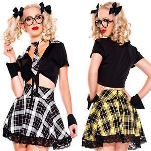 travestimento studentessa con gonna scozzese Costume carnevale halloween cosplay