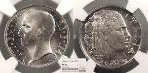 ITALY Vittorio Emanuele III 1936-R Yr.XIV 20 Centesimi NGC MS-65
