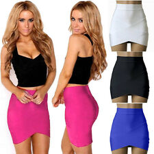 Fashion Vintage Women Stretch High Waist Short Plain Skater Mini Skirt Pop