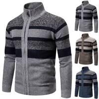 Herren Streifen Pullover Sweater Strickjacke Strickoberteile Herbst Warm Mantel