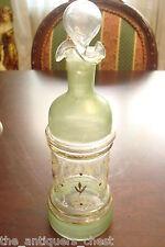 ANTIQUE hand painted Art Glass BARBER? Bottle CZECH Bohemian marked 18, [a9]