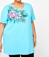 Women's 4X 30/32 Easy Fit Tee Catherine's Tunic Top Turquoise Floral Length 34""