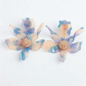 LeLe Sadoughi Crystal Lily Earrings Clip On Cloudy Sky