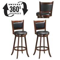 "wood bar stools set of 2 Swivel solid hardwood beautiful Dining Chairs 29"" black"