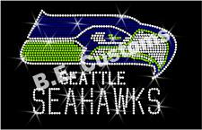 "Rhinestone Transfer ""seattle Seahawks"" NFL Hotfix Iron on Bling"
