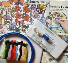 Punch Needle Starter kit with 3 size needles & 24 small transfers by Webster's