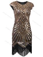 Retro 1920s Flapper Beaded Gatsby Charleston Party Fringe Evening Cocktail Dress