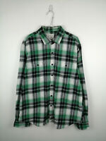 Vintage Mens Flannel Shirt True Craft Size XL Green Check 100% Cotton Button Up