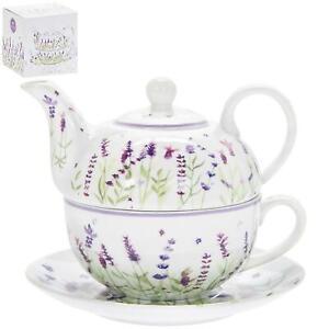 Tea For One Set Floral Lavender Flowers Cup Mug Pot Teapot Floral Boxed Gift Set