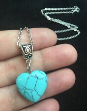 "3D Turquoise Stone Heart Necklace 24"" Chain Silver Native American Love Protect"