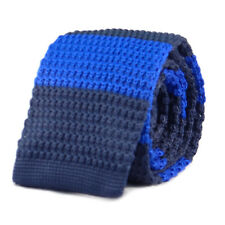 New Luxury Mens 2 Tone Blue  Striped Woven Tie (Necktie Spots Knitted Skinny)