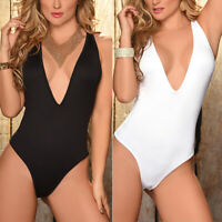 Women Solid One Piece Swimsuit Push-up Padded Bikini Swimwear Bathing Suit