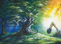 Kunst Druck Gemälde Baum Bagger Umweltschutz Recyclingpapier A4 Studio Sterna