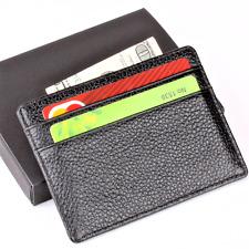 New Mens Black Slim Wallet Credit Card ID Holder Organizer Genuine Leather Pouch